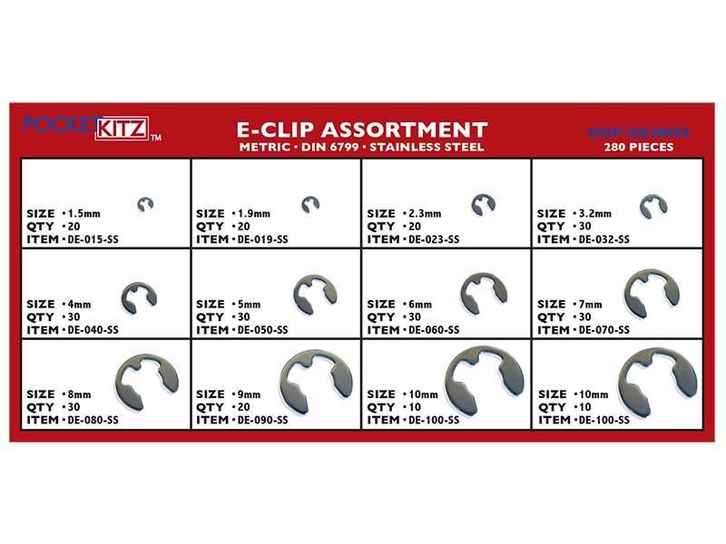 Metric Retaining Ring E Clip Stainless Steel Assort 280pc