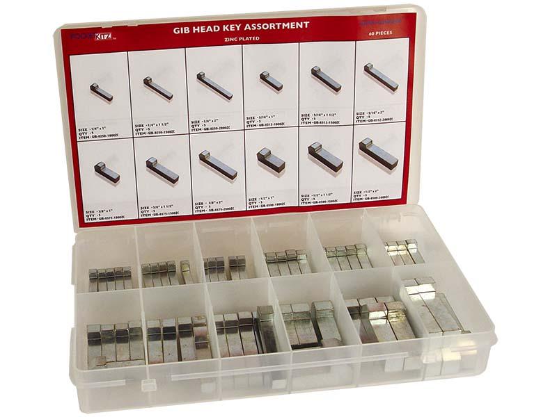 Gib Head Key Assortment Zc 60pc G L Huyett