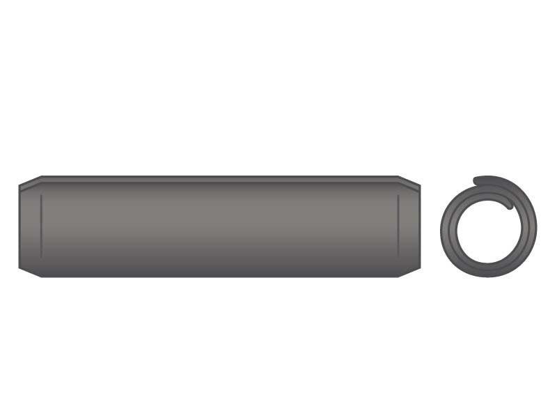 Coiled Spring Pin M8 x 18 HD Carbon Steel Phos ASME B18.8.3M