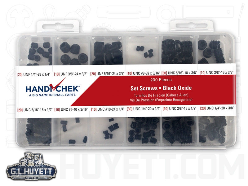 Set Screw Assort 200 Piece Handi-Chek | G L  Huyett