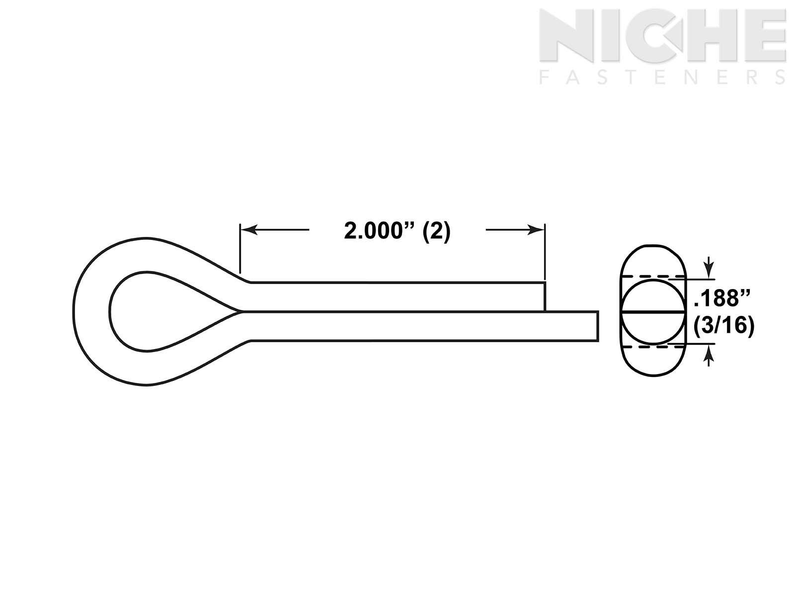 Cotter Pin 3//16 x 2-1//2 CS PL 100 Pieces