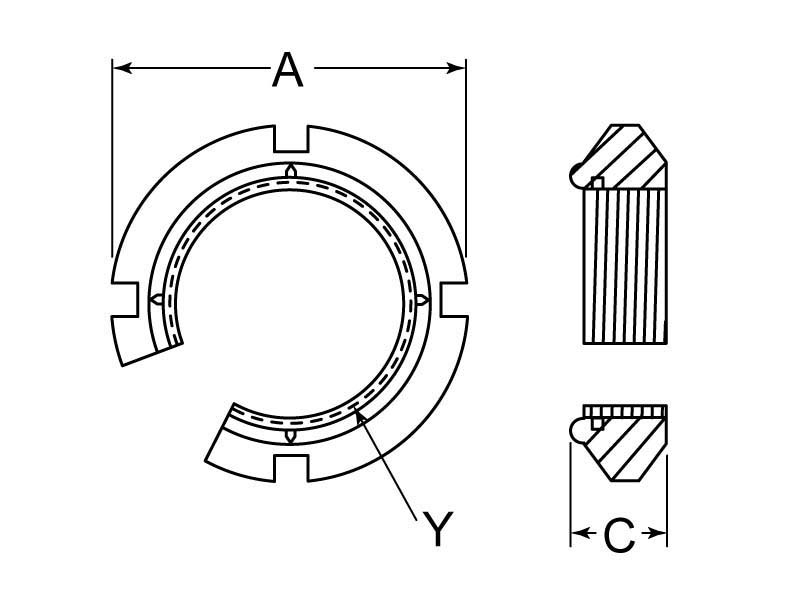 Whittet-Higgins BH-14 Bearhug Threaded Shaft /& Bearing Locknut SN-14, Standard N14 Self-Locking UNS 2.751-18 Right-Hand Thread Replaces SKF N 14