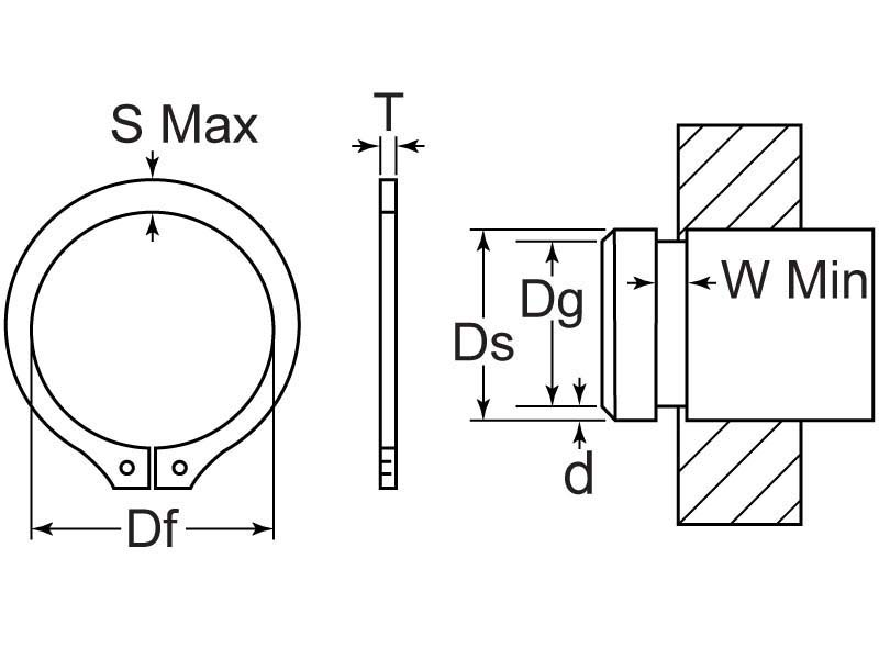 Retaining Ring Ext M30 ZC Min Pack of 25 Qty 25, Snap