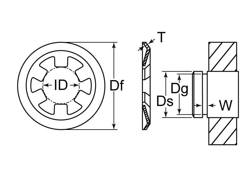 Push On Reinforced Retaining Ring Ext M10 Cs Steel Phos