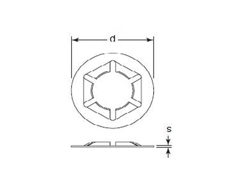 Tinnerman Pushon Retainer .388 x .066 Screw Size 1/4 Oil