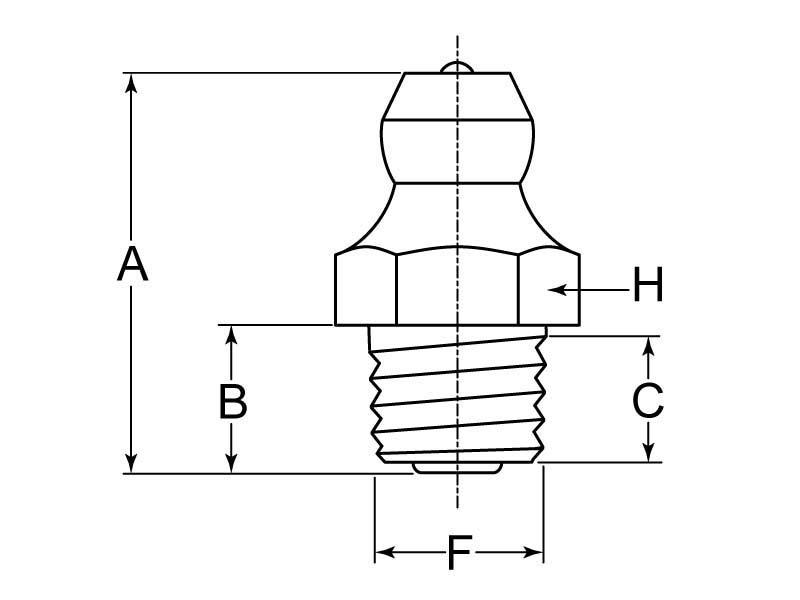 Grease Fitting Zerk M7x1 Taper Thread Steel Zc Triv G L