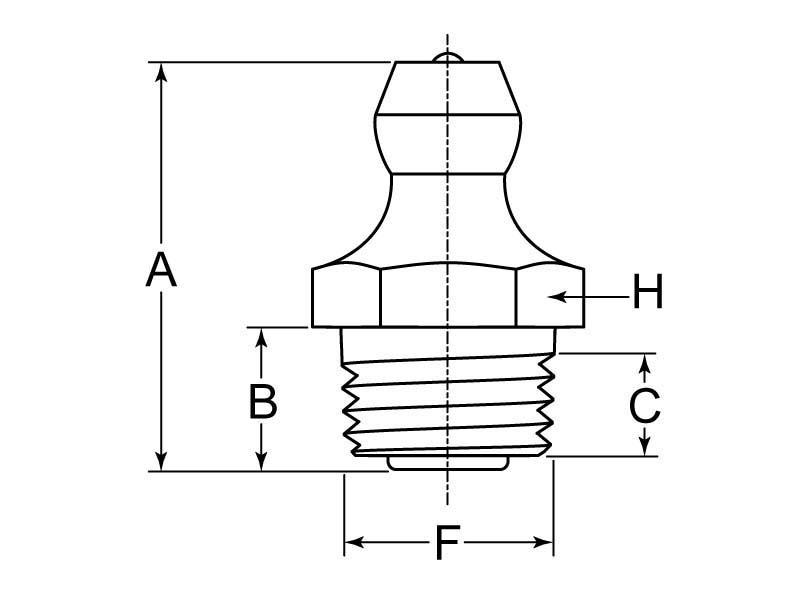 Lincoln Grease Fitting Zerk M10 x 1 Taper Thread Steel ZC   G L  Huyett