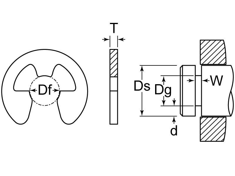 Carton: 100 pcs .188 E-Style Retaining Rings//Stainless Steel
